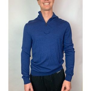 Gap Men's ½ Zip Sweater Royal Blue Merino Wool  M